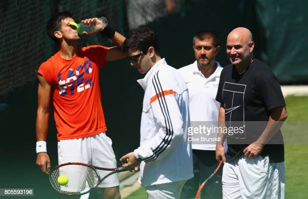 Andre Agassi coach of Novak Djokovic of Serbia during practice ahead of the Wimbledon Lawn Tennis Championships at the All England Lawn Tennis and...