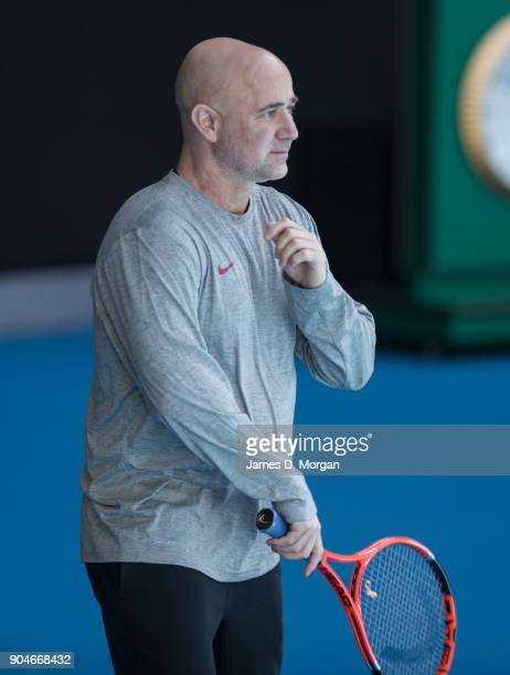 Andre Agassi coach to Novak Djokovic during a practice session ahead of the 2018 Australian Open at Melbourne Park on January 14 2018 in Melbourne...
