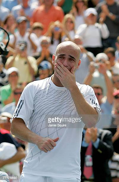 Andre Agassi cries after being defeated by Benjamin Becker of Germany in his last career match at the U.S. Open at the USTA Billie Jean King National...