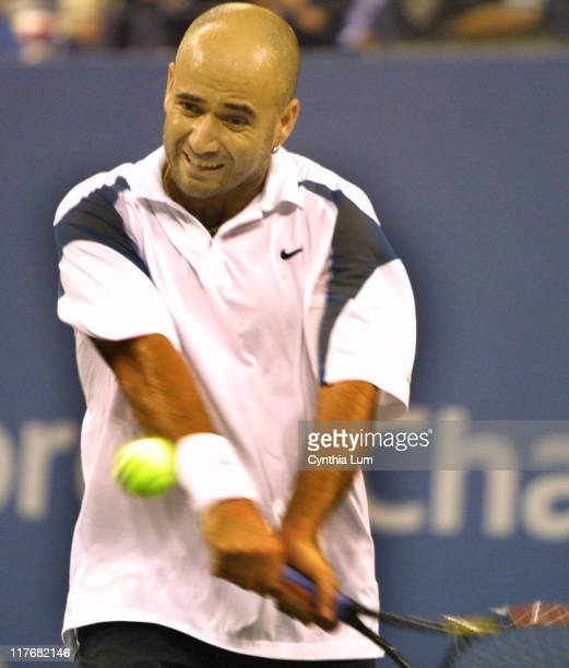 Andre Agassi defeats fellow American JanMichael Gambill 62 63 63 in the fourth round of the US Open