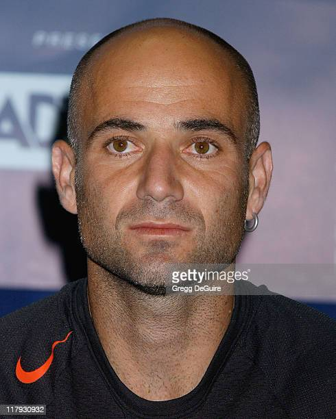 Andre Agassi during 12th Annual World Team Tennis Smash Hits Benefiting the Elton John AIDS Foundation at Bren Events Center in Irvine California...