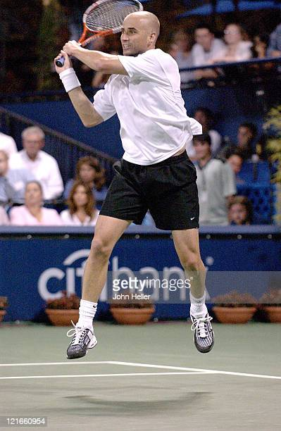 Andre Agassi during a match against Julien Benneteau at the 2004 MercedesBenz Cup July 15 2004