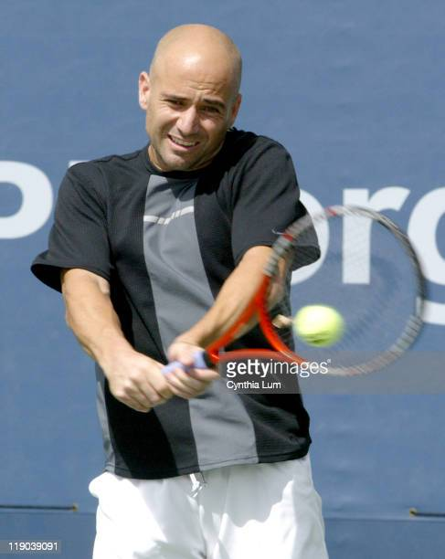 Andre Agassi during a practice sesion at the 2004 US Open on September 7 2004