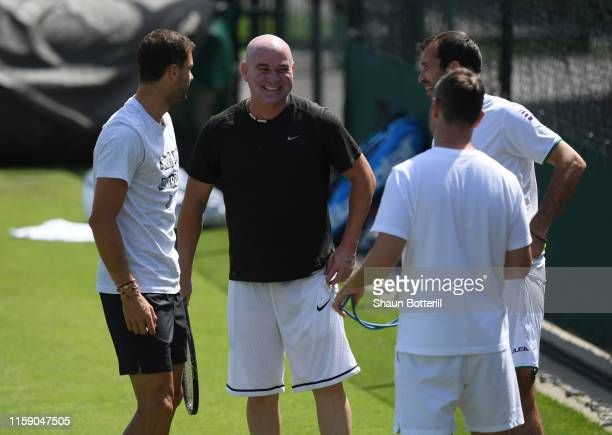 Andre Agassi during a practice session ahead of The Championships Wimbledon 2019 at All England Lawn Tennis and Croquet Club on June 29 2019 in...