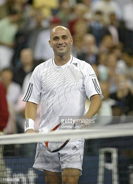 Andre Agassi during a second round match against Marcos Baghdatis at the 2006 US Open at the USTA Billie Jean King National Tennis Center in Queens,...