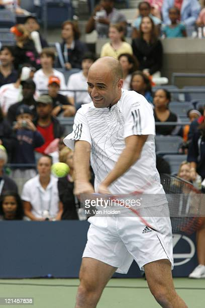 Andre Agassi during Arthur Ashe Kids Day at the US Open - August 26, 2006 at USTA National Tennis Center in Flushing, New York, United States.