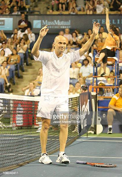 """Andre Agassi during Gibson and Baldwin Host 2006 """"Night at the Net"""" - Game at Los Angeles Tennis Center in Westwood, California, United States."""