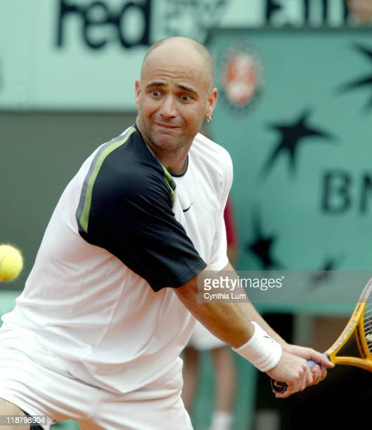 Andre Agassi during his first round loss to Jarkko Nieminen at the 2005 French Open in Roland Garros Stadium on the May 24 2005