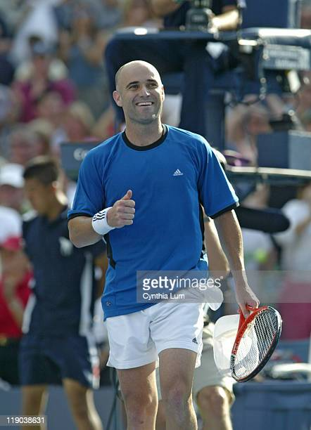 Andre Agassi during his match against Ivo Karlovic in the second round of the 2005 US Open at the USTA National Tennis Center in Flushing New York on...