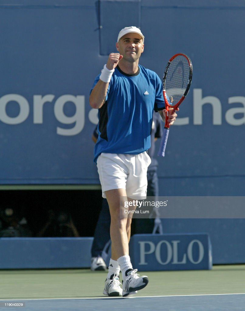 Andre Agassi during his match against Ivo Karlovic in the second round of the 2005 US Open at the USTA National Tennis Center in Flushing, New York on September 1, 2005. Agassu won 7-6, 7-6, 7-6.