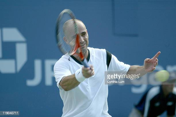 Andre Agassi during his second round match against Florian Mayer at the 2004 US Open in the USTA National Tennis Center in New York on September 2...