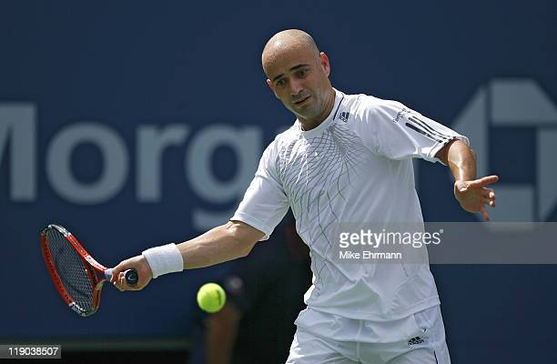 Andre Agassi during his third round match against Benjamin Becker at the 2006 US Open at the USTA Billie Jean King National Tennis Center in Flushing...