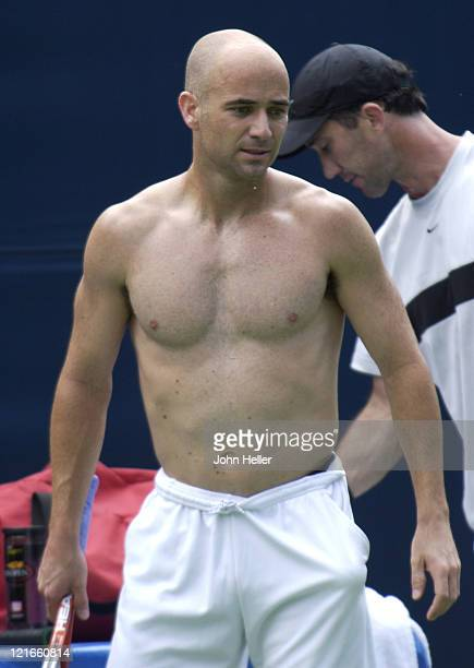 Andre Agassi during MercedesBenz Cup 2004 Andre Agassi Practice July 15 2004 at UCLA in Los Angeles California United States