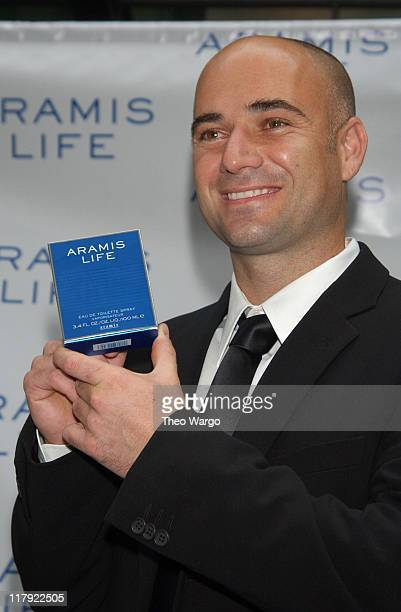 Andre Agassi during Tennis Superstar Andre Agassi Launches New Men's Fragrance Aramis Life at Christies in New York City New York United States
