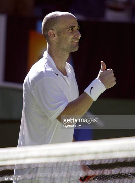 Andre Agassi gives a thumbsup during his fourthround match against Joachim Johansson during during the 2005 Australian Open at Melbourne Park in...