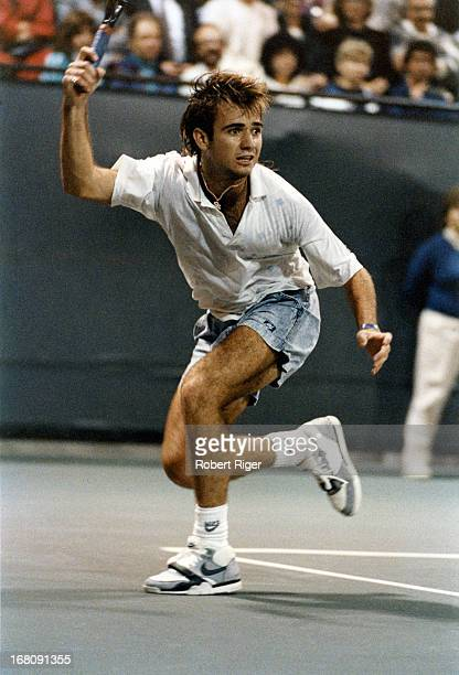 Andre Agassi hits a forehand during the 1988 LA Tennis Open in September 1988 in Los Angeles California