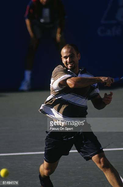 Andre Agassi hits the ball at the 1995 US Open in Flushing New York