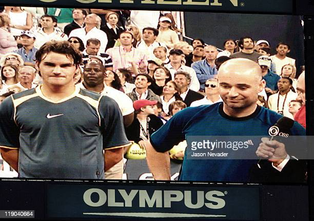 Andre Agassi is interviewed after losing the 2005 US Open final 63 26 76 9 61 to Roger Federer at Arthur Ashe Stadium in Flushing New York on...