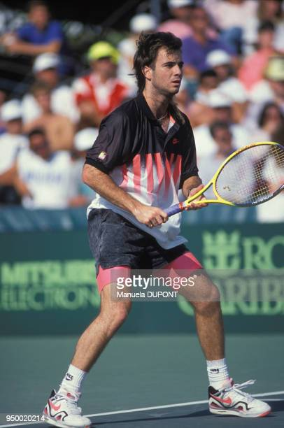 Andre Agassi lors du tournoi de tennis de Key Biscayne en mars 1990 EtatsUnis