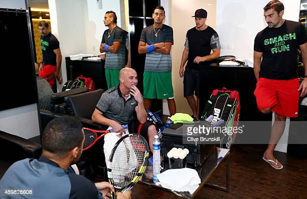 Andre Agassi of the Singapore Slammers in the team locker room prior to their match against the Manila Mavericks during the Coca-Cola International...