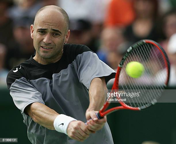 Andre Agassi of the United States in action against Tim Henman of England during day four of the 2005 Kooyong Classic at Kooyong Lawn Tennis Club...