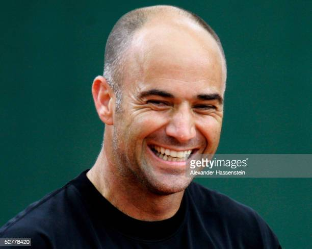 Andre Agassi of the United States smiles at a training session during the Masters Series Hamburg at Rothenbaum on May 9 2005 in Hamburg Germany