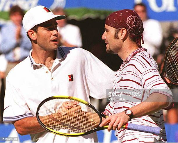 Andre Agassi of the US shakes hands with compatriot Pete Sampras after the men's final at the Australian Open 29 January 1995 Agassi beat Sampras 46...