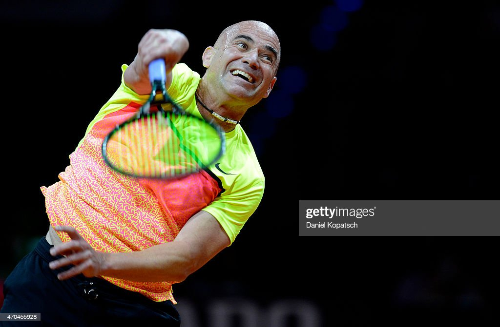 Andre Agassi of the USA in action during his Berenberg Classic match against Thomas Muster of Austria on day one of the Porsche Tennis Grand Prix at Porsche-Arena on April 20, 2015 in Stuttgart, Germany.