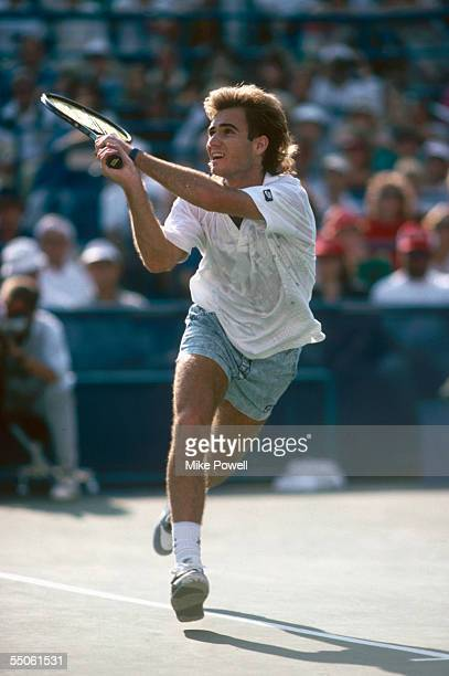Andre Agassi of the USA in action during the 1989 U.S Open held in September 1989 at Flushing Meadows, in New York, USA.