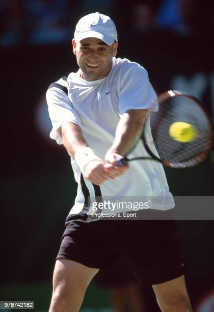 Andre Agassi of the USA in action during the Australian Open Tennis Championships at Melbourne Park in Melbourne Australia circa January 2003
