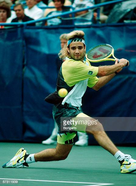 Andre Agassi of the USA in action during the final match at the US Open in Flushing Meadows on August 27, 1990 in New York, United States.