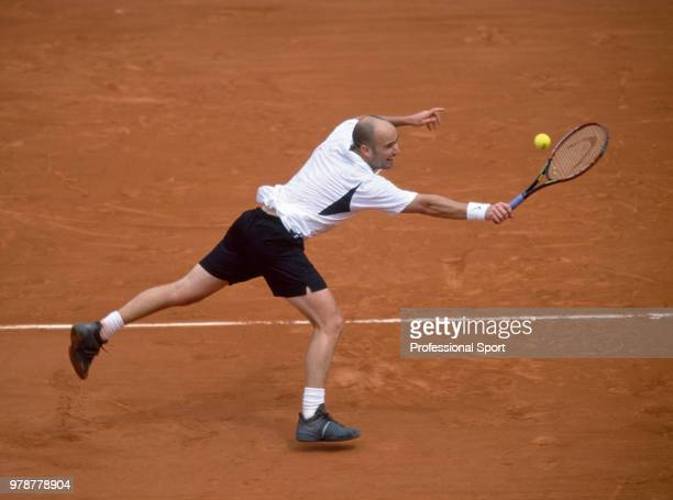 Andre Agassi of the USA in action during the French Open Tennis Championships at the Stade Roland Garros circa May 2002 in Paris France