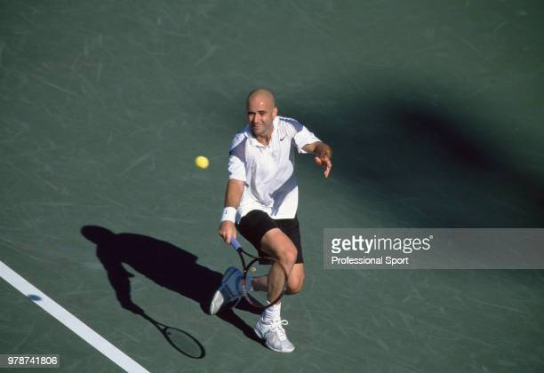 Andre Agassi of the USA in action during the US Open at the USTA National Tennis Center circa September 2002 in Flushing Meadow New York USA