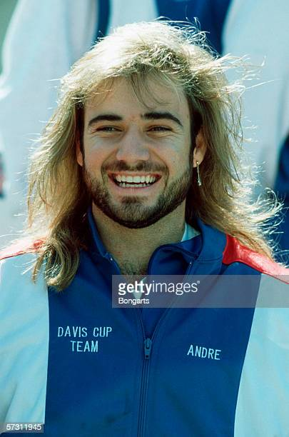 Andre Agassi of the USA is seen before the Davis Cup between US and Germany on September 20 1991 in Kansas City United States