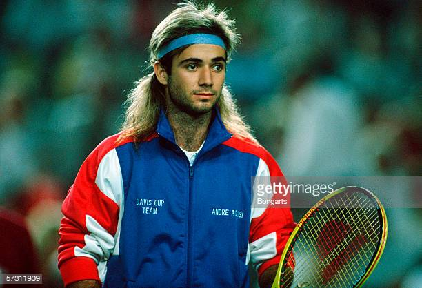Andre Agassi of the USA is seen before the final match between Germany and USA at the Davis Cup on July 21 1989 in Munich Germany