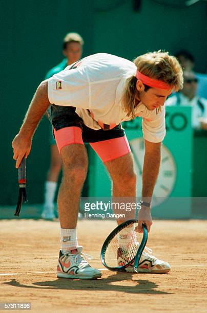 Andre Agassi of the USA is seen during a match at the French Open at Roland Garros on May 29 1995 in Paris France