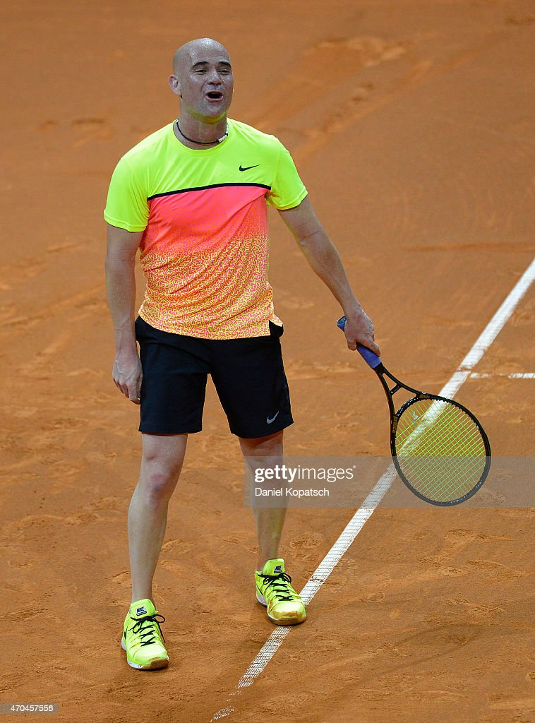 Andre Agassi of the USA reacts during his Berenberg Classic match against Thomas Muster of Austria on day one of the Porsche Tennis Grand Prix at Porsche-Arena on April 20, 2015 in Stuttgart, Germany.