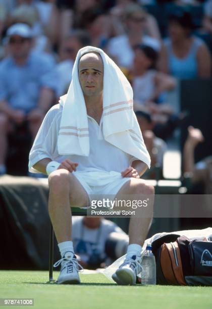 Andre Agassi of the USA taking a break during the Wimbledon Lawn Tennis Championships at the All England Lawn Tennis and Croquet Club circa June 2001...