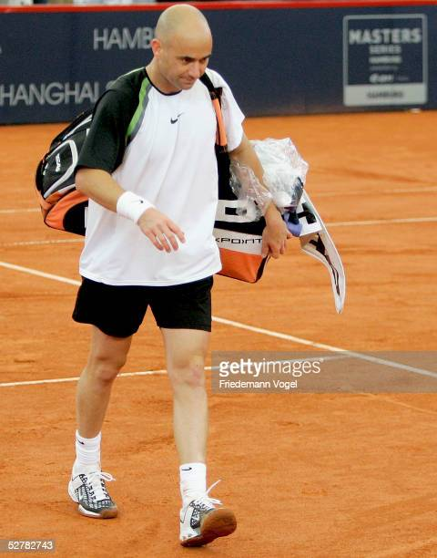 Andre Agassi of US looks dejected during his mach against Feliciano Lopez of Spain during the Masters Series Hamburg at Rothenbaum on May 10 2005 in...