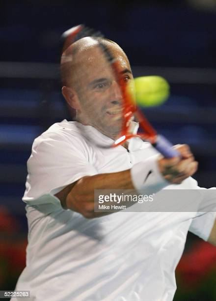 Andre Agassi of USA in action during his first round victory over Radic Stepanek of Czech Republic in the Dubai Duty Free Men's Open Tennis...