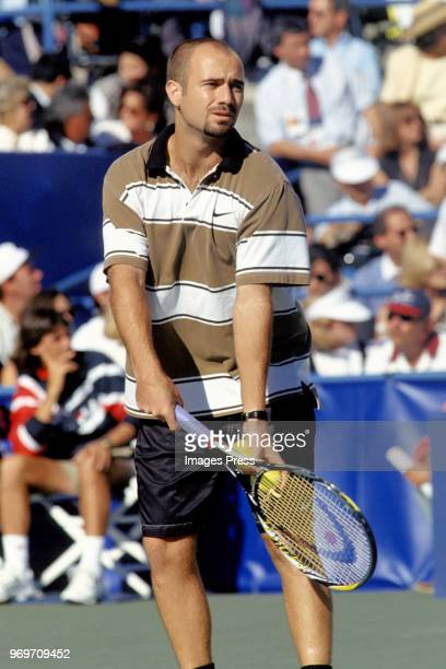 Andre Agassi plays tennis during the 1995 US Open in New York City