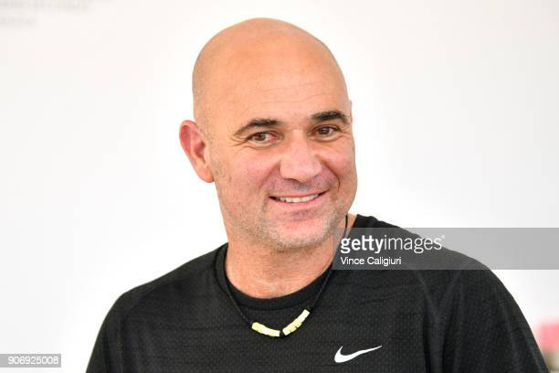 Andre Agassi poses at Lavazza during day five of the 2018 Australian Open at Melbourne Park on January 19 2018 in Melbourne Australia
