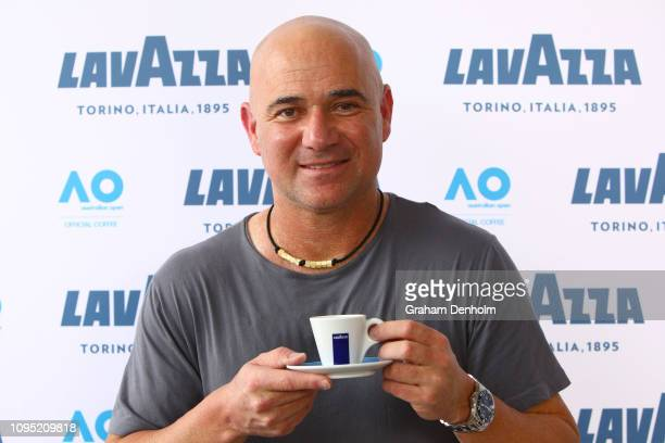 Andre Agassi poses at the Lavazza Cafe at Grand Slam Oval during day four of the 2019 Australian Open at Melbourne Park on January 17 2019 in...