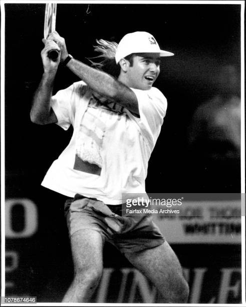 Andre Agassi practices his Tennis at the Entertainment Centre todayPowi a casual Andre Agassi at the Entertainment Centre yesterday September 28 1991