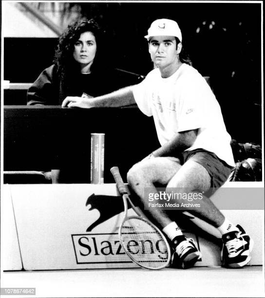 Andre Agassi practices his Tennis at the Entertainment centre today With girlfriend Wendi Stewart from Las Vagas September 28 1991