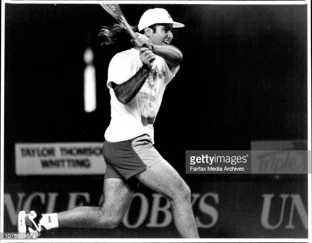 Andre Agassi practices his tennis at the Entertainment Centre today September 28 1991