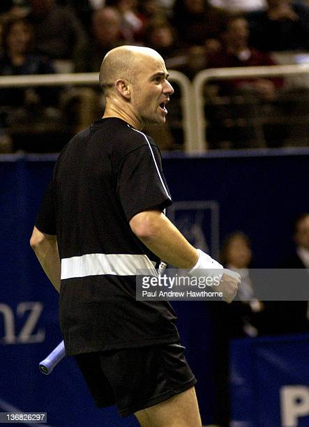 Andre Agassi reacts to an official's call during his semifinal match with Mardy Fish at the 2004 Siebel Open in San Jose, California, February 14,...