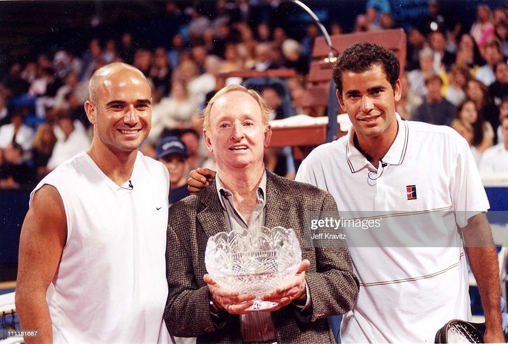 Andre Agassi, Rod Laver & Pete Sampras during 1999 Mercedes Benz Tennis Tournament in Los Angeles, California, United States.
