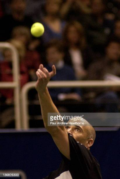 Andre Agassi serves during his match with Mardy Fish at the 2004 Siebel Open in San Jose, California, February 14, 2004. Fish upset Agassi to win...
