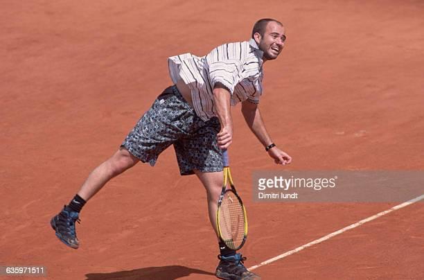 Andre Agassi Serving